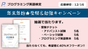 プログラミング英語検定年末年始キャンペーン